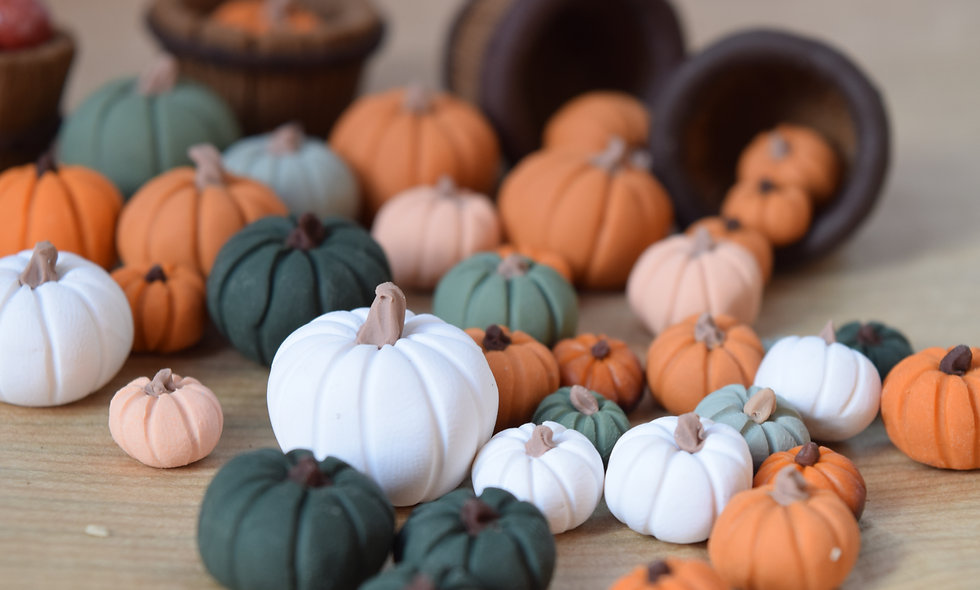 Handmade Mini Clay Pumpkins