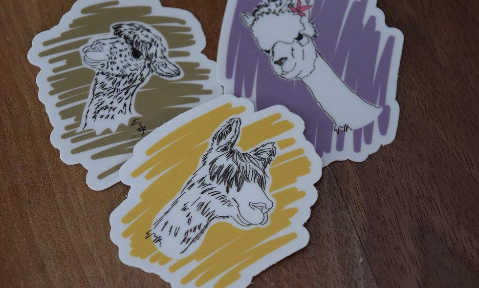 Hand Drawn Alpaca Stickers