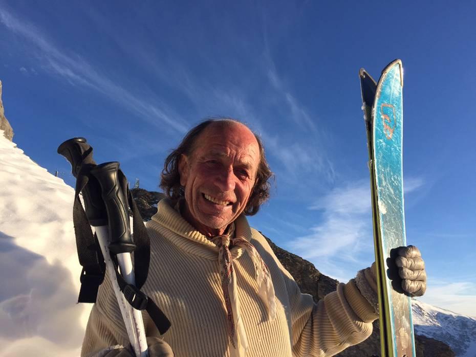 """""""Ich will sein, den Moment leben, den Schnee  geniessen!"""" Heini Giesker mit seinem Fisch-Ski auf dem Titlis."""