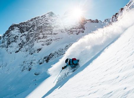 Spyder is skiing