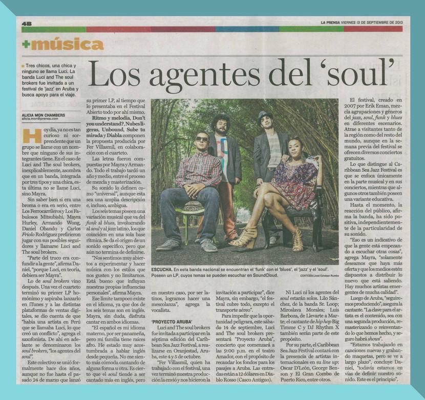 Article on 'La Prensa', upon invitation to Jazz Fest in Aruba.