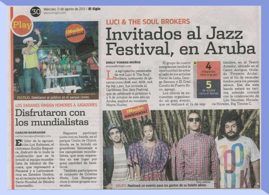 Article on 'El Siglo' about invitation to Jazz Festival in Aruba