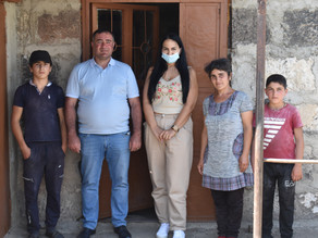 Visit to a single mother and her children in the village of Lusaghbyur, Lori Province
