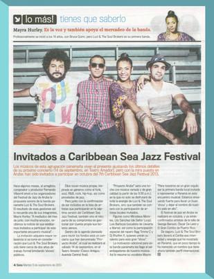Article on 'Panamá América' upon invitation to Jazz Festival, Aruba.