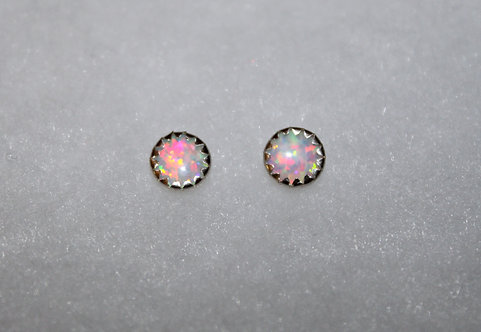 White Opal Sterling Silver Studs