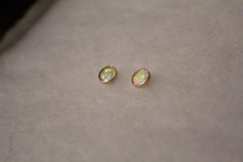 White Opal Gold Studs
