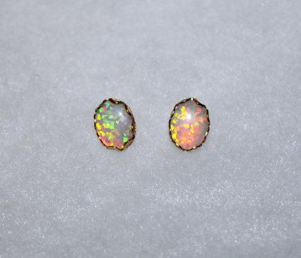 White Opal Gold Filigree Studs