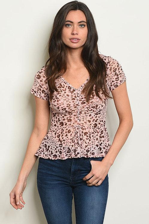 Pink Animal Leopard Print Top