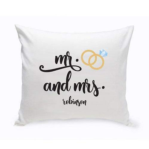 Mr. & Mrs. Wedding Ring Throw Pillow