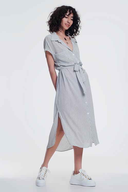 Stripe Cream Belted Shirt Dress