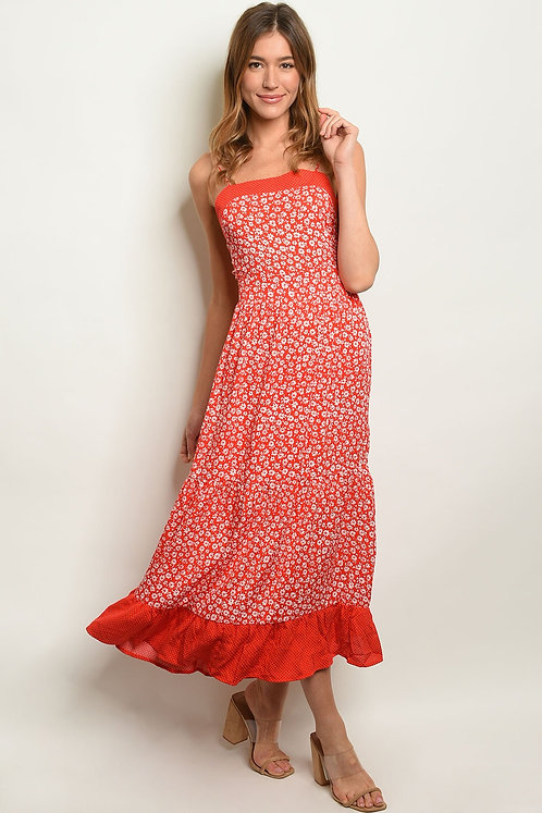 Red Ivory With Flowers Dress
