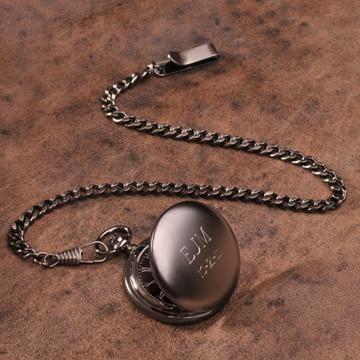 "Personalized Pocket Watch - Gunmetal - 1.5"" Diameter"