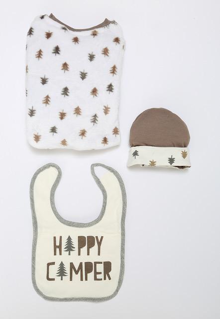 """Happy Camper"" 3 Piece Baby Gift Set"