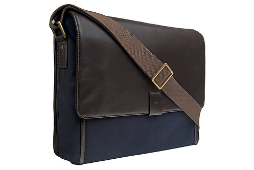 Hidesign Aiden Canvas Leather Laptop Messenger