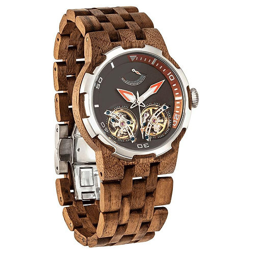 Men's Dual Wheel Automatic Walnut Wood Watch - For High End Watch Collectors
