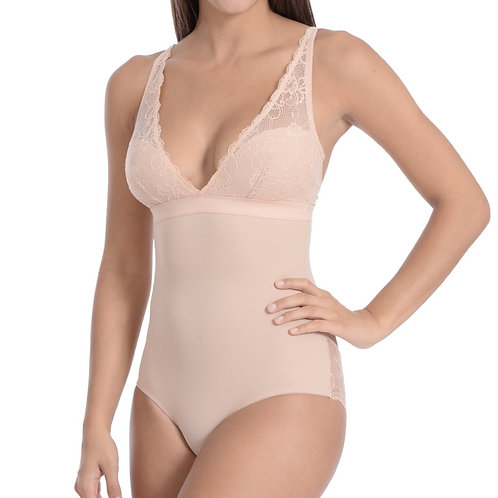 Lingerie Look Full Bodysuit Shaper With Beautiful Lace Details Nude