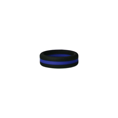 Black/Blue Stripe Silicone Ring