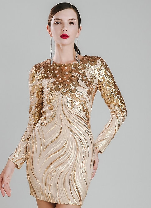 Gold Sequin Embellished Dress