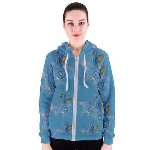 Blue Seahorses Zipper Hoodie