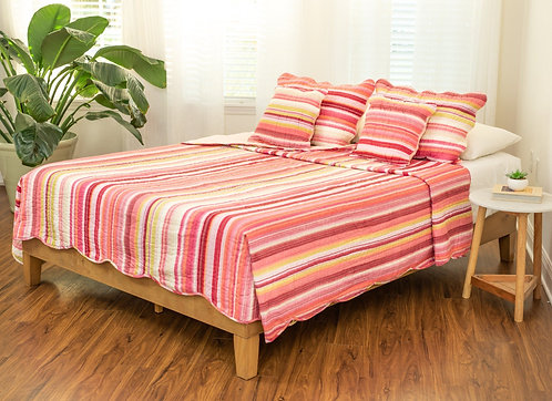 DaDa Bedding Stunning Stripes Red & Pink Scalloped Bedspread Set (DXJ101824)