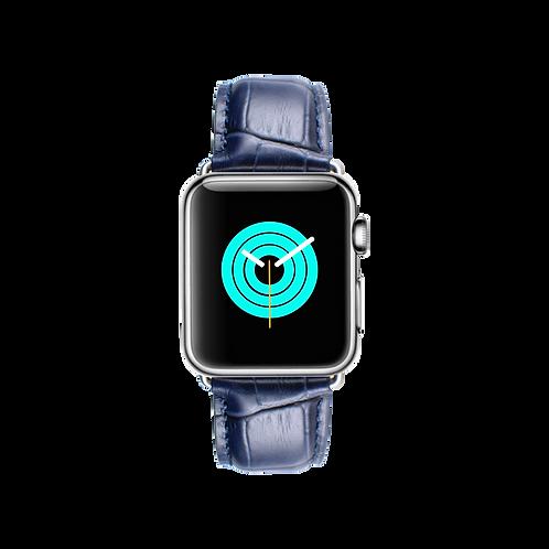 MINTAPPLE Alligator Leather Apple Watch Strap - Blue