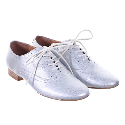 Lace Up Flat Shoes (Silver)