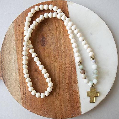 Gemstone Cross Necklace-Amazonite