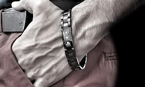Black Tungsten Watch Bracelet With Crystals Accent Watch