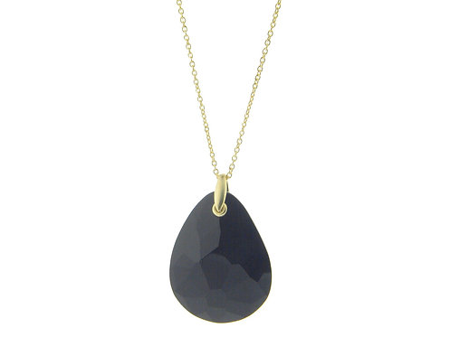 Statement Black Crystal Pendant Necklace (Golden)