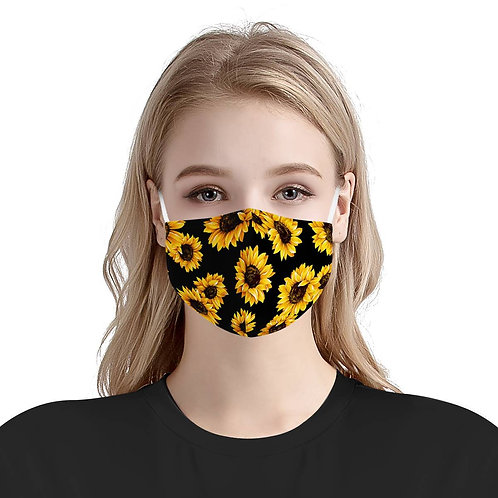 Sunflower Pattern   CDC 3 Layer Mask W/ Fitted Nose Wire, Reusable, Adjustable