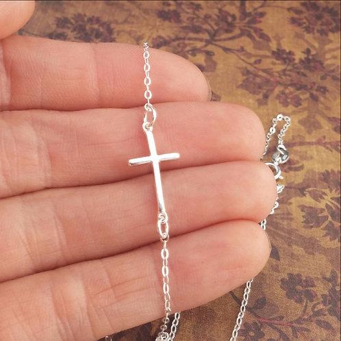 Tiny Sideways Cross Necklace