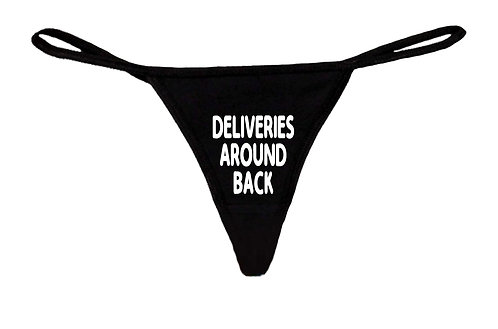 Women's Funny Sexy Thong Deliveries Around Back Lingerie Panties