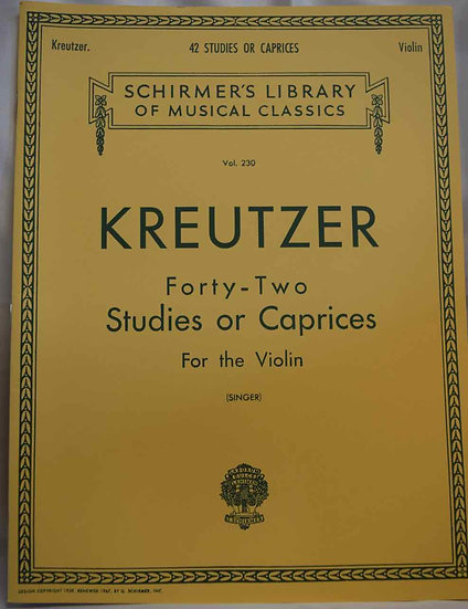 Kreutzer - 42 Studies or Caprices: Violin Method (Schirmer's Library of Musical