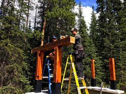 Setting some cedar timbers