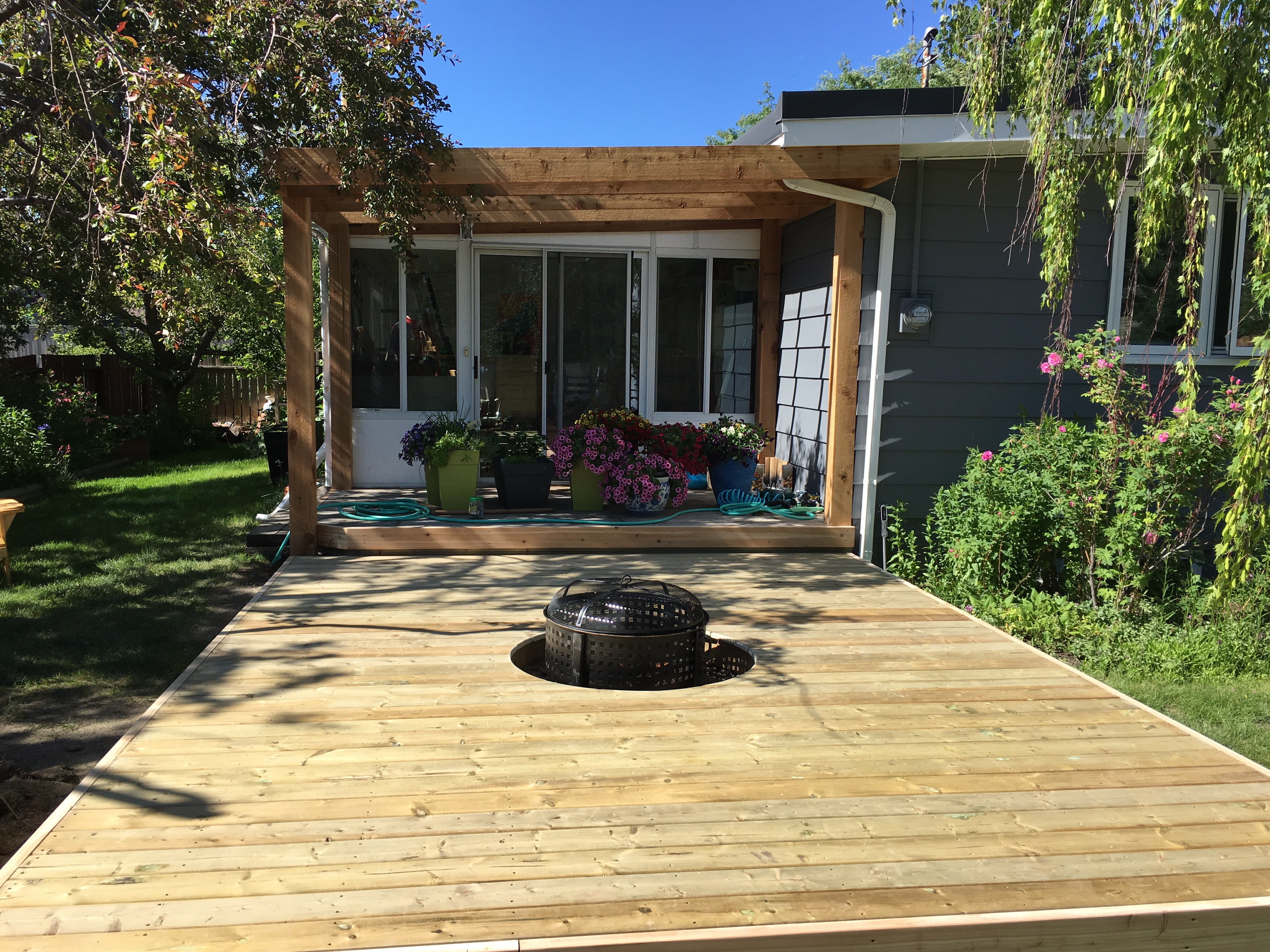 PT Deck with Cedar Accents & Pergola