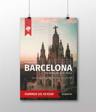 Plakat Reisebüro Fortjetzt Barcelona