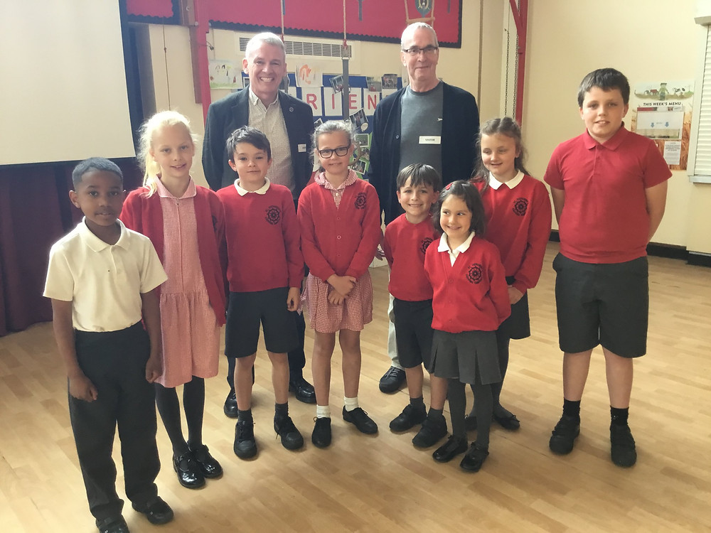 Martin Polley & Patrick Spink with the children from St Catharine's