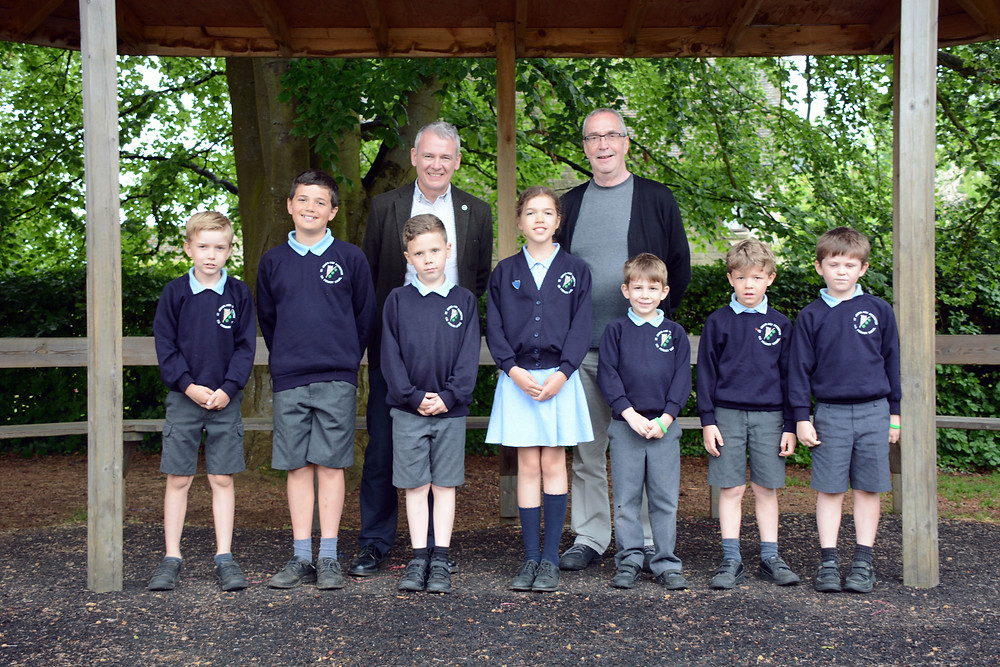 Martin Polley (L) and Patrick Spink with some of the young audience from St James School, Chipping Campden