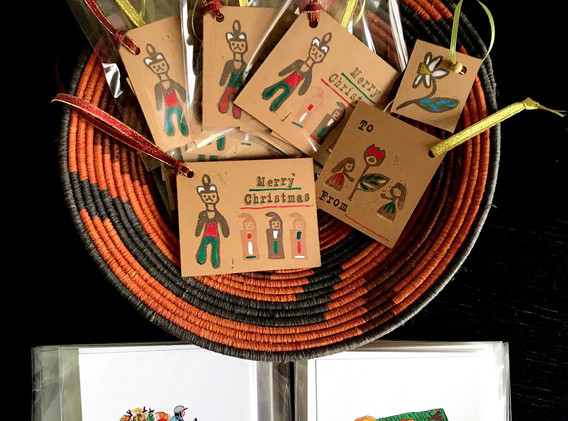 Original tags designed by refugee childr