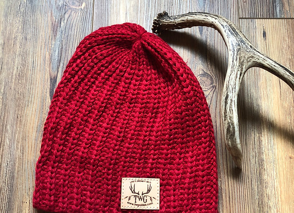 Slouchy cranberry beanie