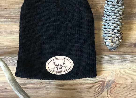 Twg leather patch beanie black