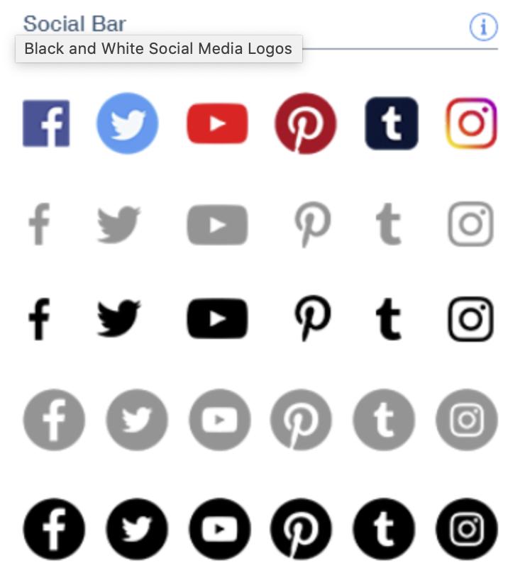 Black and White Social Media Logos