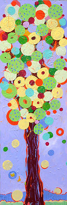 a tall painting made of tens of colorful bubbles that altogether represent a festive tree mostly with velvet, yellow, green