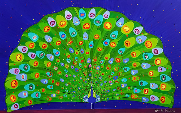 The painting of a magnificent peacock ona  deep blue sky. Its green tail opens wide and shows hundreds of eyes
