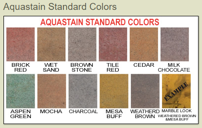 XCEL Surfaces Aqua Stains Color Chart