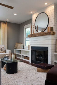 Living Room With Custom Fireplace Mantel