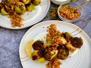 Brussels Sprouts with Breadcrumbs and Yogurt Sauce