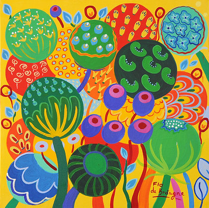 a little square painting that represents bubbles filled with seeds and whimsical flowers. Mostly green ona  yellow background