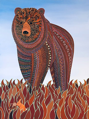 This painting depicts a large brown bear all decorated with patterns that walks towards to tiny rabbits in love