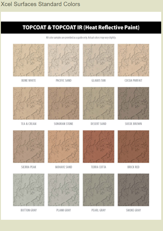 XCEL Surfaces Top Coat Paint color chart